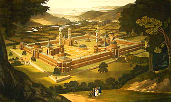 New_Harmony_by_F._Bate_(View_of_a_Community,_as_proposed_by_Robert_Owen)_printed_1838 m