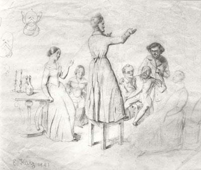 Wagner i Minna en la vigília de l'Any Nou 1841 a París, amb el bibliotecari Gottfried Engelbert Anders, el filòleg Samuel Lehr, el pintor Friedrich Pecht amb la seua dona, i el pintor Ernst B. Kietzmann.