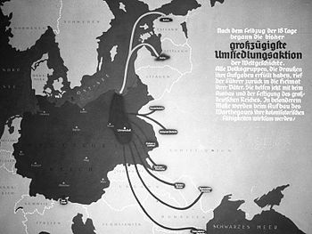 Espacio Vital. Propaganda nazi anunciando el regreso de colonos alemanes a las tierras del imperio.