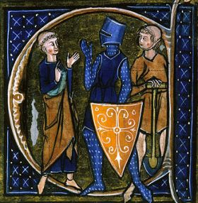 Serf observant dos senyors, un noble i un eclesiàstic.
