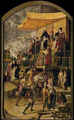 Auto de fe. Inquisición -Pedro_Berruguete_Saint_Dominic_Presiding_over_an_Auto-da-fe_1495