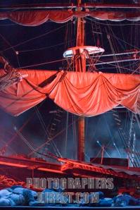 The Flying Dutchman - scene from the opera by Richard Wagner, with an empty ship and dead people on the floor, at the Forum Marinum, Turku, Finland, August 2005.