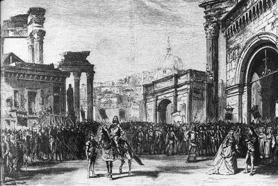 rienzia3     El final del Acto III de Rienzi, tal y como se representó en París en 1869