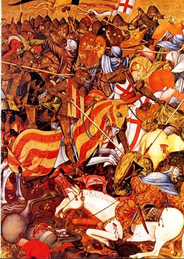 Batalla del Puig de Santa Maria.  Reataule de Sant Jordi. Marzal de Sas (1410-20)