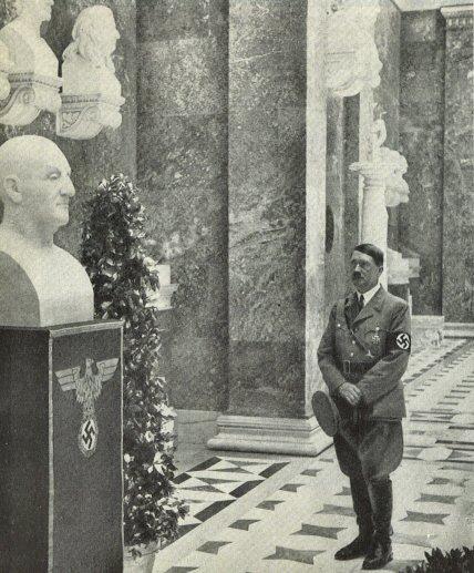Hitler Admiring Bruckner Bust At Walhalla 1937