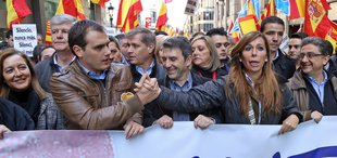 Albert Rivera i Alicia Sanchez Camacho amb Jose Domingo en la capçalera de la manifestació a favor de la Constitucio