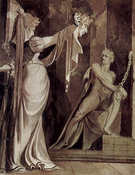 Kriemhil showing Gunther's head to hagen