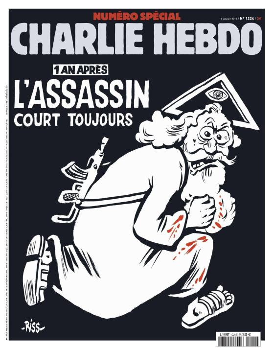 epa05087449 An undated handout picture provided by Majorelle PR Agency on 04 January 2016 shows the cover of the special issue #1224 of the French satirical weekly Charlie Hebdo with a cartoon of a bearded god carrying a kalashnikov reading '1 an apres. L'assassin court toujours' (lit: One year later.The murderer is still on the run). The frontpage and the editorial by Chief Editor Riss to be published on 06 January 2016 aims to condemn religious fanatism. A series of national commemorations will mark the first anniversary of the terror attacks at the Charlie Hebdo offices that took place on 07 January 2015. EPA/CHARLIE HEBDO/MAJORELLE PR/HANDOUT HANDOUT EDITORIAL USE ONLY/NO SALES