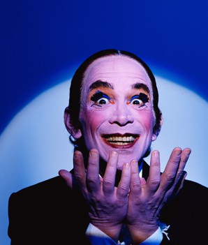 July 1987 --- Joel Grey dressed as the Master of Ceremonies, the sardonic musical commentator on the story in the play and movie . Grey created the role on Broadway, and won an Oscar for his performance in the film. --- Image by © Douglas Kirkland/CORBIS